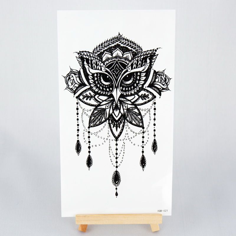 Transferable Tattoos Black Henna For Mehendi Lace Owl Sexy Women Fake Tattoo Waterproof Temporary Tattoos Stickers On The Body