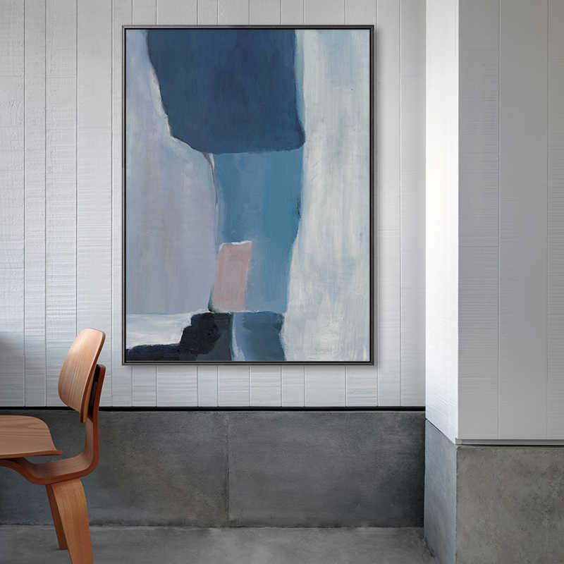 Buzart Nordic Style Biru Pola Abstrak Lukisan Dinding Art Poster untuk Dekorasi Ruang Tamu Tanpa Bingkai