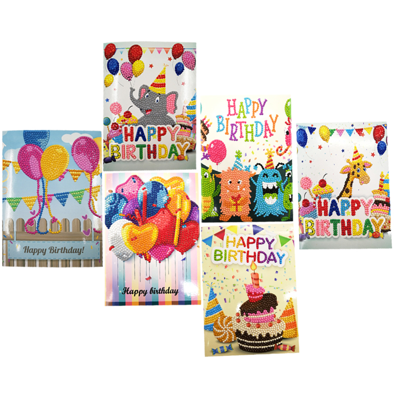 5d diy diamond painting cards partial round drill birthday