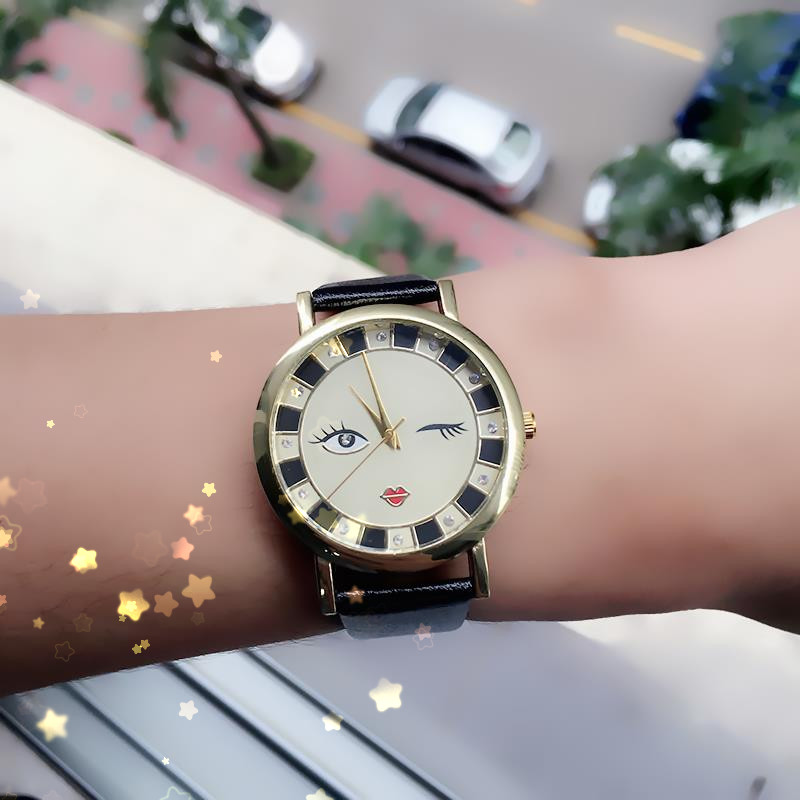 DHL free, 100pcs/lot New Arrival Cute Face Watch Women Fashion Pu Leather Narrow Belt Quartz Wristwatch Casual Watches Clock