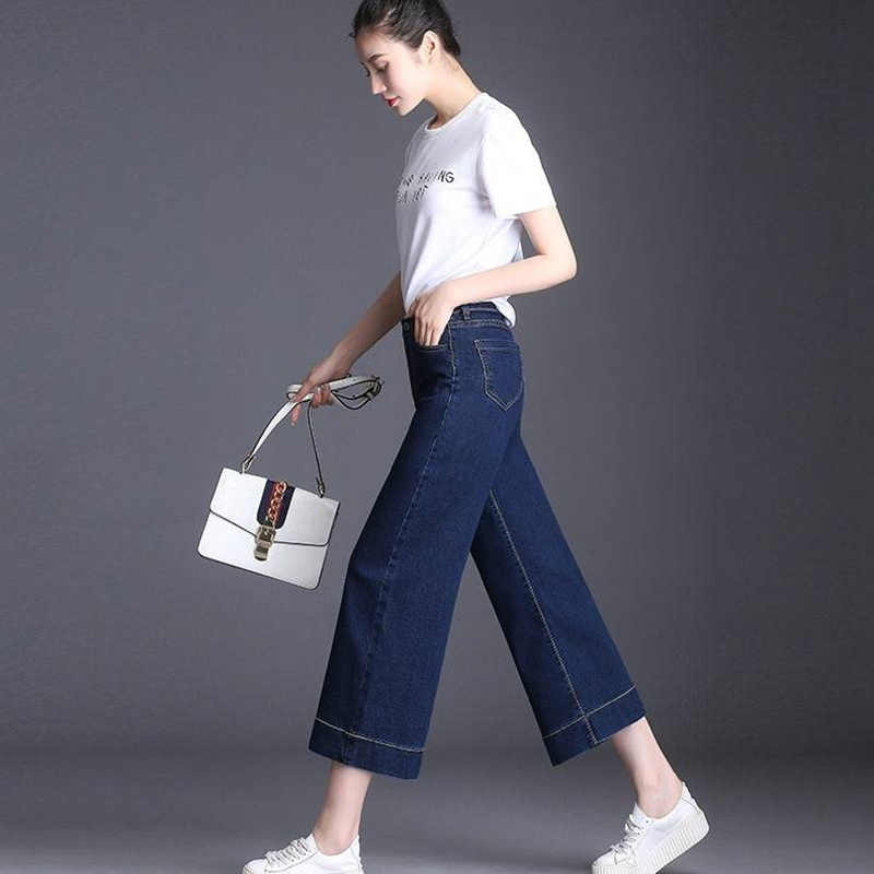 2019 Zomer Vrouwen Denim Blue Jeans Broek enkellange Hoge Waisted Herfst Losse Wijde Pijpen Broek Grote Maten