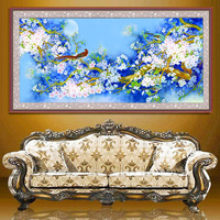Unframed Blue Beautiful Flowers Birds Pattern Mosaic Diamond Embroidery Painting Living Room Home Wall Decor Paintings