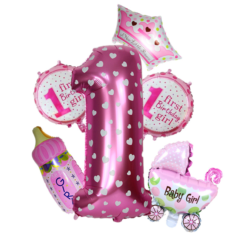 1st birthday balloons set party foil helium balloons for for 1st birthday girl decoration