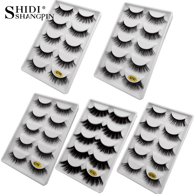 natrual 3d mink false eyelashes soft mink fasle lashes fluffy faux cils natrual long make up 3d eyelashes 5 pairs/ box maquiagem