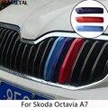 Para Skoda Octavia A7 Mk3 2014 2015 2016 Coche Grille Sport StripeTricolor Pegatinas Decoración externa Accesorios Car Styling