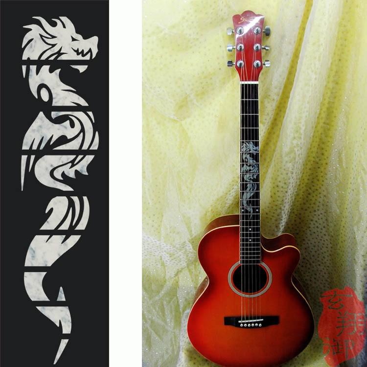 Acoustic And Electric Designs: SEWS Electric Acoustic Guitar Inlay Sticker The Dragon
