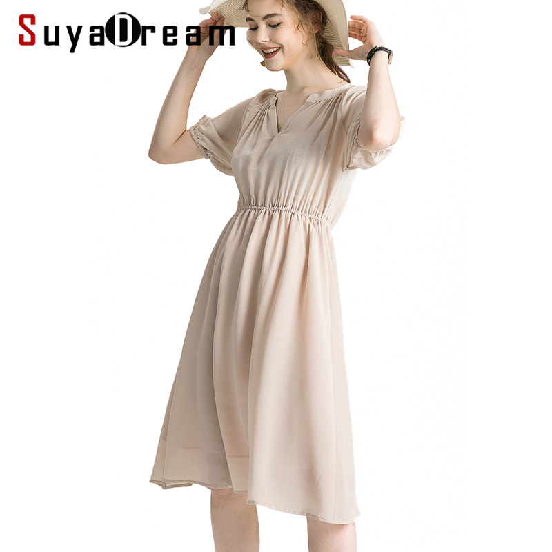 Women Silk Dress 100 Real Silk Crepe Solid Holiday Dresses Short Sleeved Knee Length Champagne Summer