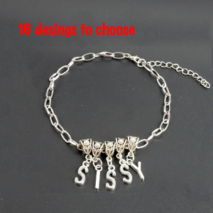 silver WHORE sexy anklet slave swinger lifestyle jewelry CUCKOLD QUEEN OF SPADES ALPHABET AL004(China)