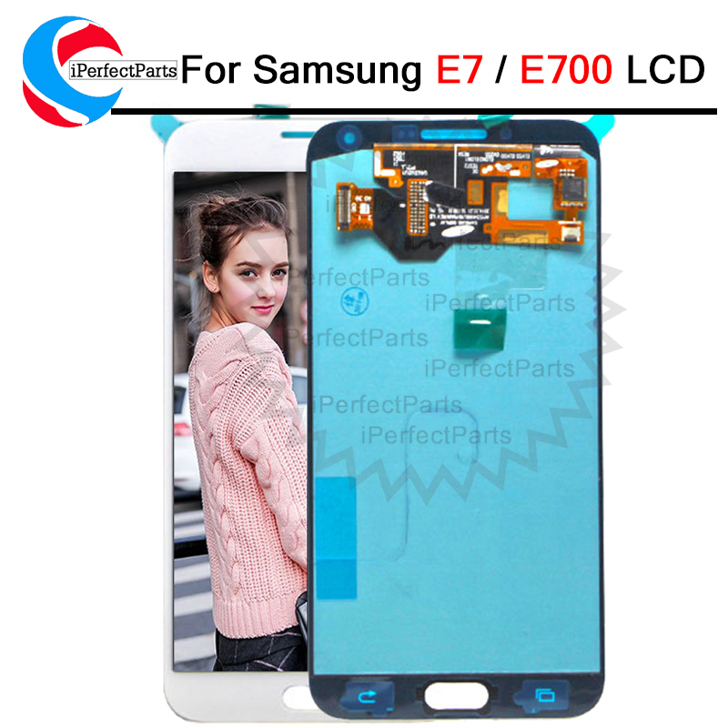 Can Adjust Brghtnes Amoled For Samsung Galaxy Samsung Galaxy E7 E700 E700F E7000 E7009 LCD Display Touch Screen Replacement Part