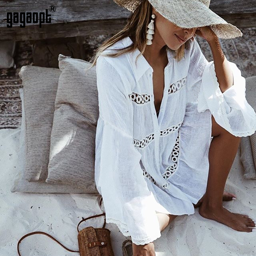 Gagaopt Lace Shirt Trumpet Sleeve Beach Jacket Sun Protection Clothing Swimsuit Jacket