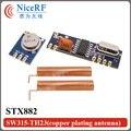 2 set/lote 315 MHz Superheterodino RF ASK Módulo Kit (2 unids Transmisor + 2 unids SRX882 Receptor STX882 + 4 unids Primavera Antena)
