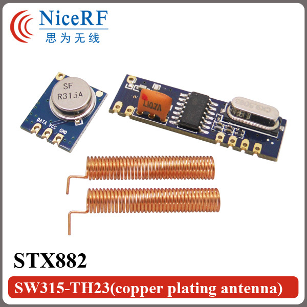 2sets/lot 315MHz Superheterodyne ASK RF Module Kit(2pcs STX882 Transmitter + 2pcs SRX882 Receiver  +4pcs Spring Antenna)