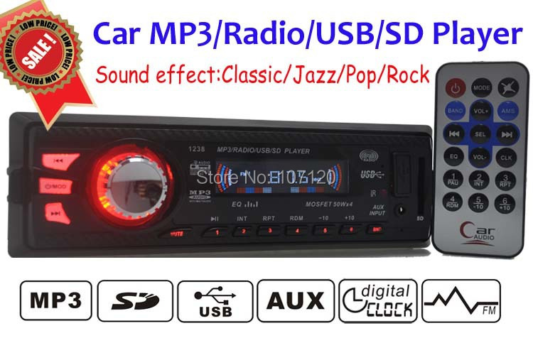 2015 New High Quality Car Audio Stereo In Dash Auto Car Radio MP3 Player FM Aux Input Receiver USB SD with Remote