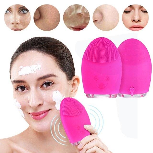 Điện Mini Rửa Mặt Bàn Chải Massage Máy Giặt Silicon Chống Thấm Nước Mặt Chăm Sóc Da Rửa Mặt