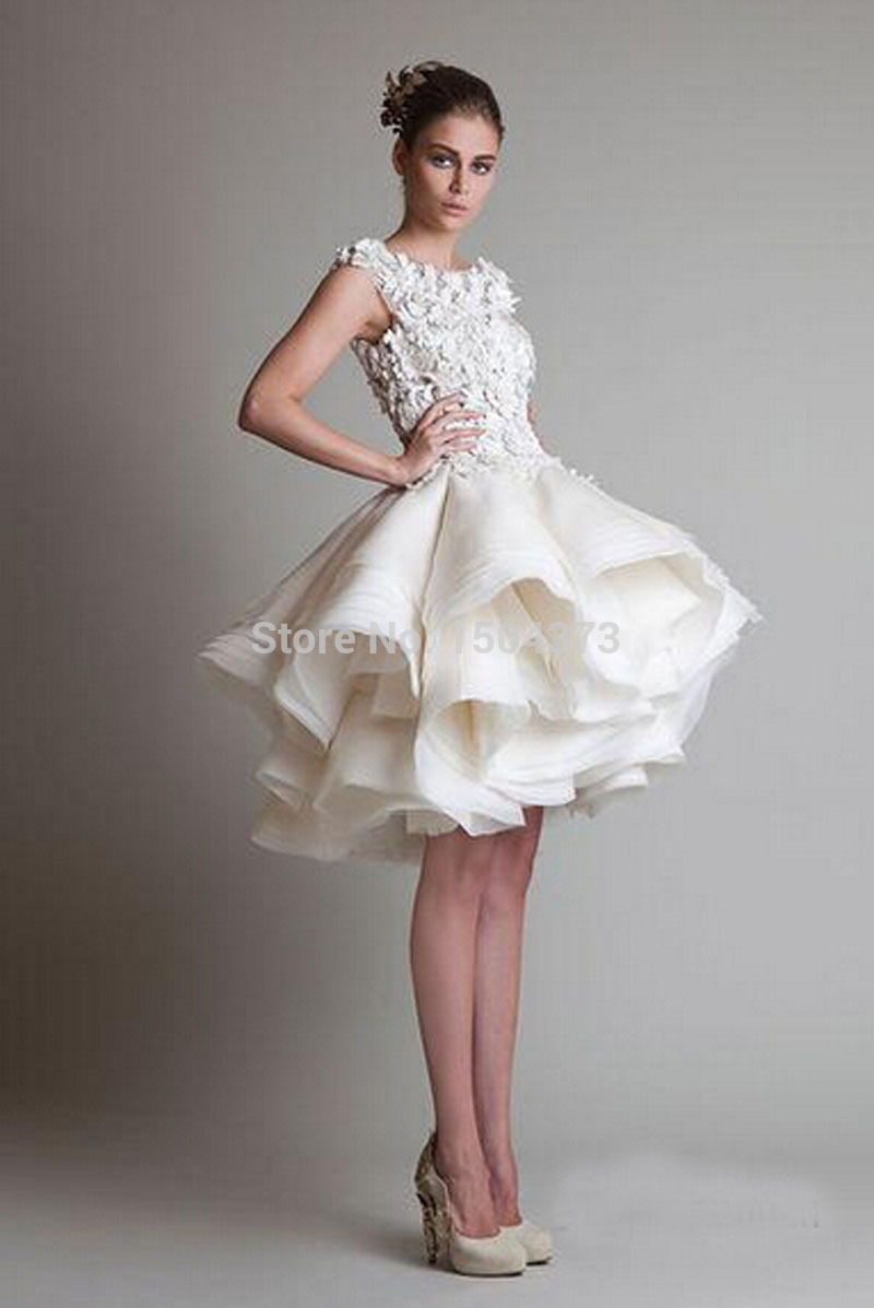 Hot Sale Cheap White Ivory Appliques Organza Puffy Skirt Short Wedding Dresses Bridal Gowns Knee Length Elegant Wedding Gowns