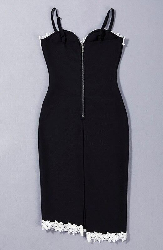 Genou V Blanc Dentelle Sexy Bracelet 2016 Longueur Robe Gros Cou Noir Bandage Femmes Jolie New 8TYqv