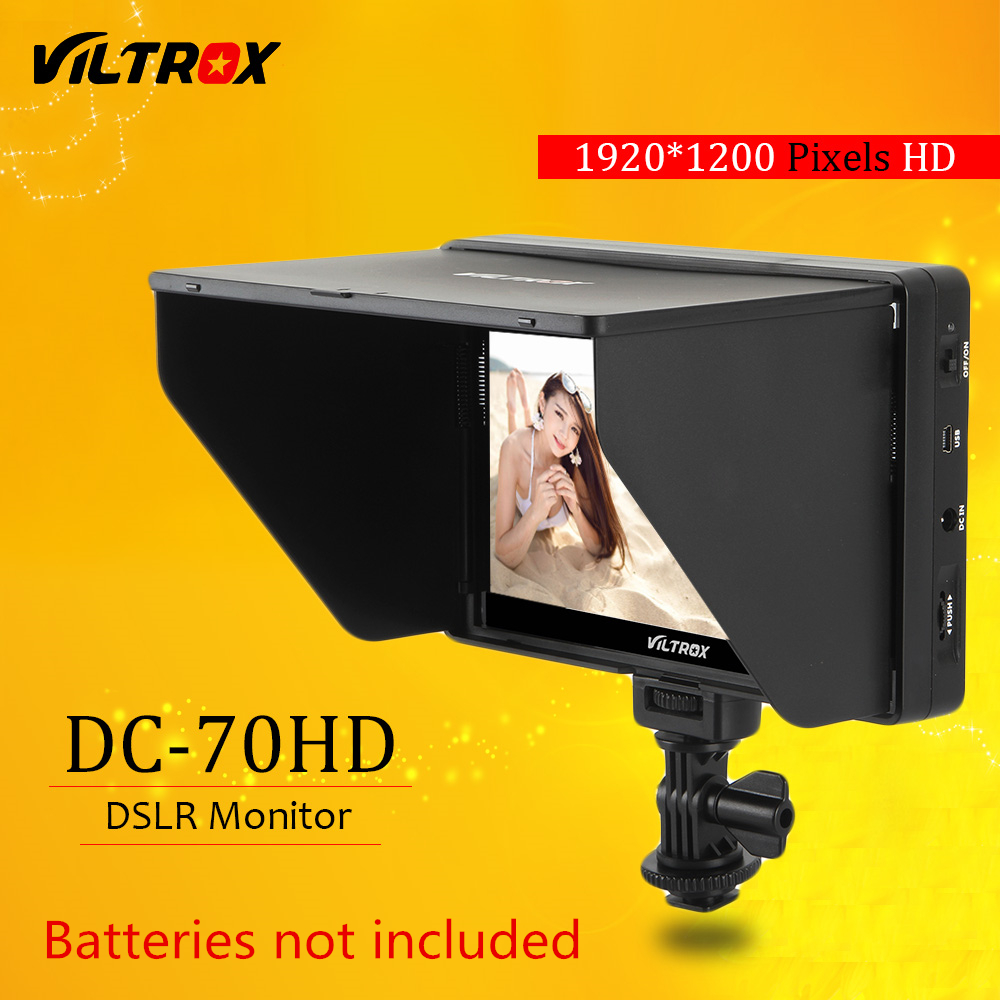 Viltrox DC-70HD Clip-on 7 '' 1920x1200 IPS HD LCD-kamera Video Monitor Vis HDMI AV-inngang til Canon Nikon DSLR BMPCC 5DIV