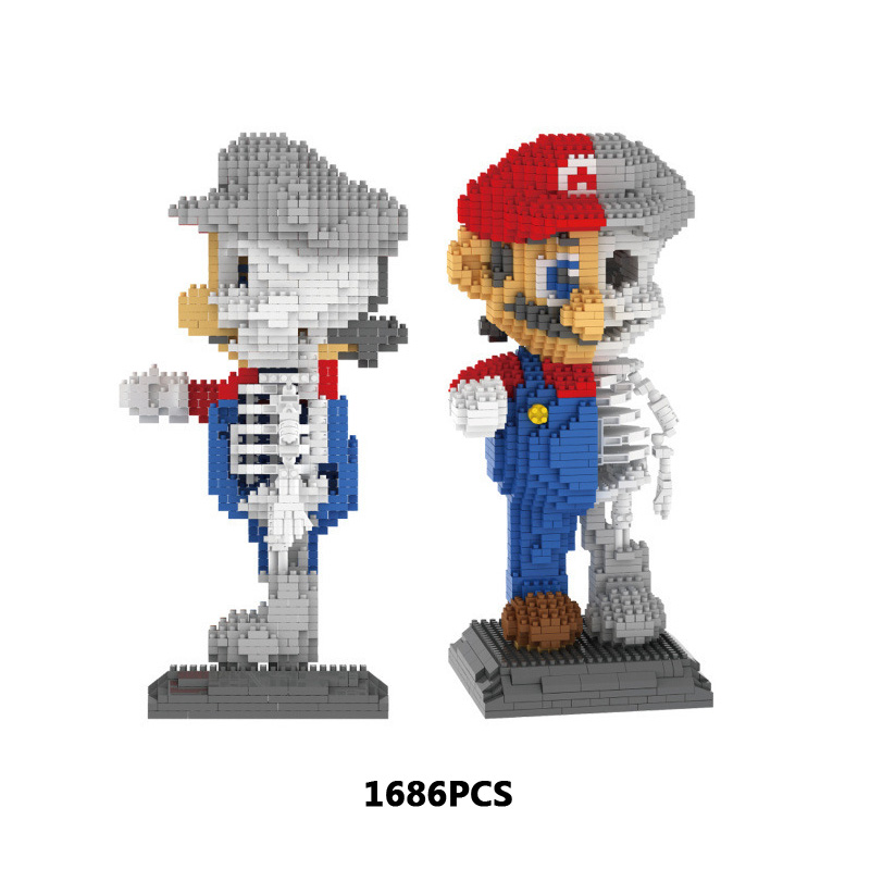 Funny game figures super mario bros skeleton micro diamond building block assemblage model bricks nanoblock toys collection цена