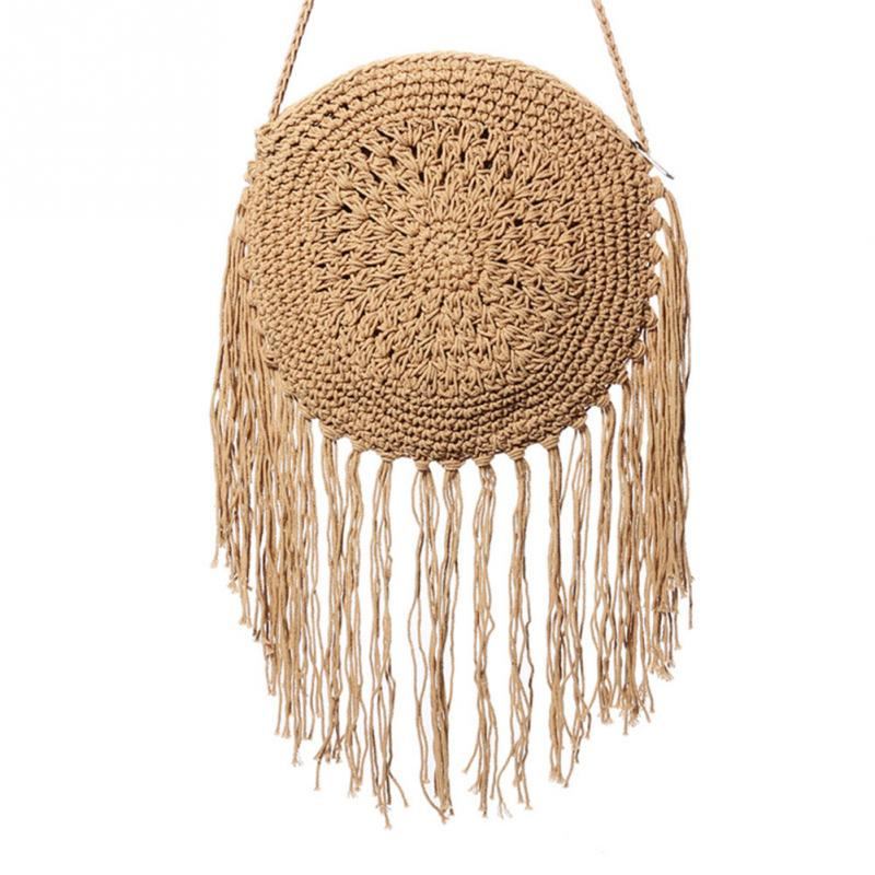 Woman Round Handbags Handmade Straw Bag with Tassel Rattan Woven Vintage Rope Knitted Messenger Bag Lady Summer Beach ToteWoman Round Handbags Handmade Straw Bag with Tassel Rattan Woven Vintage Rope Knitted Messenger Bag Lady Summer Beach Tote