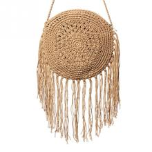 купить Woman Round Handbags Handmade Straw Bag with Tassel Rattan Woven Vintage Rope Knitted Messenger Bag Lady Summer Beach Tote онлайн