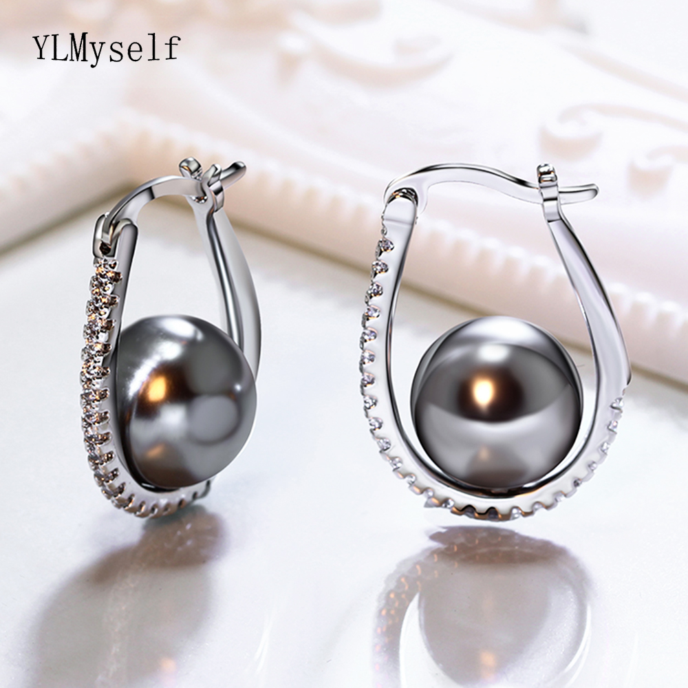 Pretty Oval Hoop Earrings With Grey Pearl And AAA Cubic Zirconia Crystal Stones High Quality Trendy Jewelry For Women