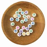 Frete Grátis Colorido Acrílico Contas da Letra U 3600 Pçs/lote 4*7 MM Colorido Plástico Alfabeto Inicial Jóias Pulseira Espaçador contas