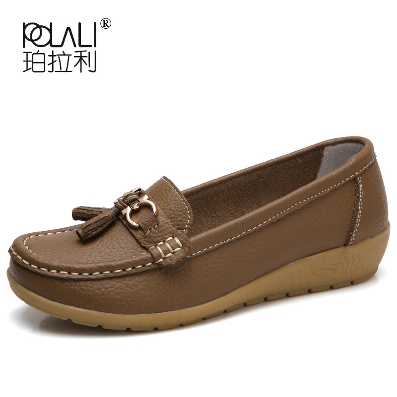 POLALI 2018 Summer Genuine Leather Women Casual Shoes 2018 Fashion Breathable Slip-on Peas Massage Flat Shoes