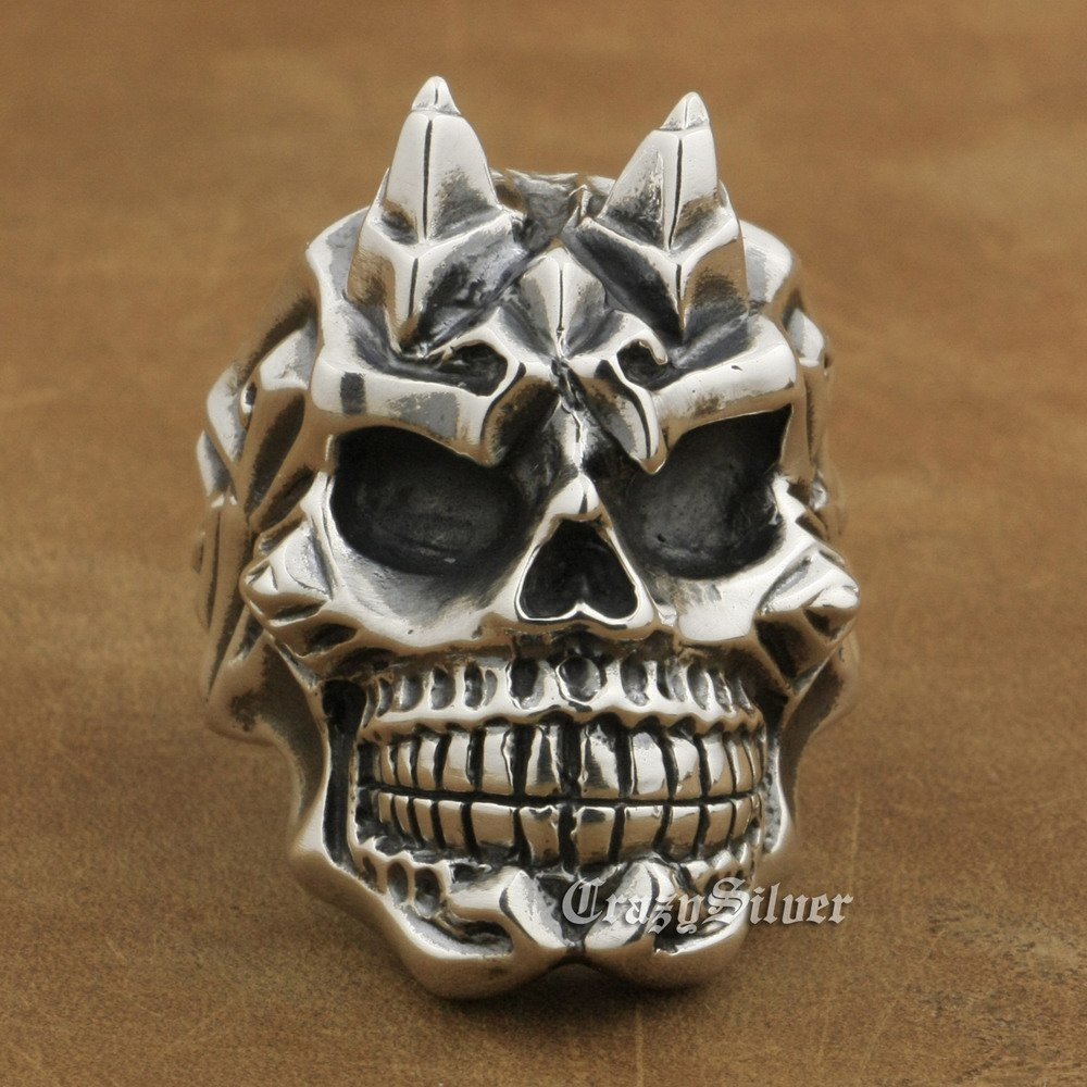 925 Sterling Silver Devil Horn Skull Ring Mens Biker Punk Ring TA13A US 7~15 925 sterling silver high details skull ring mens biker punk ring ta118a us 7 15