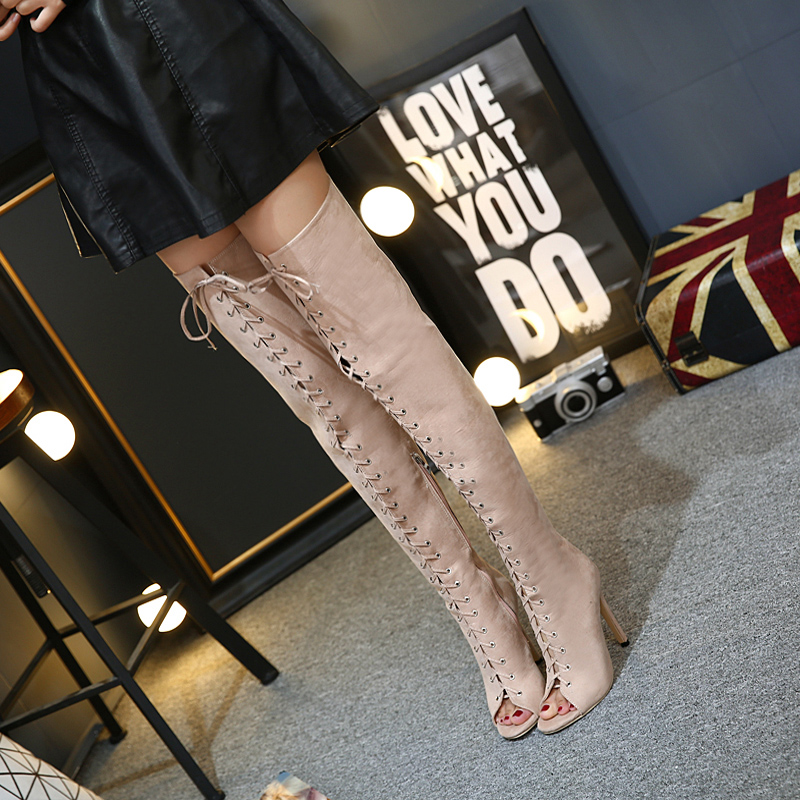 ФОТО Women boots High Heels Over the Knee Boots Fashion prom shoes ladies thigh high Boots black women pumps peep toe long boots D826