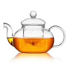 High quality Heat Resistant Glass Flower Tea Pot,Practical Bottle Flower TeaCup Glass Teapot with Infuser Tea Leaf Herbal Coffee(China)