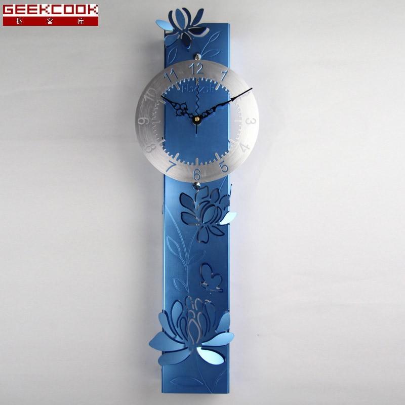 Geekcook Peony Art Wall Clock Modern Design Living Room Mute Wall Watch Home Decor Metal Big Clocks Wall Fashion Creation