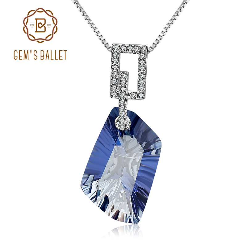 GEM'S BALLET 21.20Ct Natural Iolite Blue Mystic Quartz Gemstone Pendant Necklace 925 Sterling Silver Fine Jewelry For Women