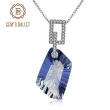 Gems バレエ 21.20Ct ナチュラルアイオライトラウンドルースビーズブルーミスティック宝石用原石のペンダントネックレス 925 スターリングシルバー女性のための