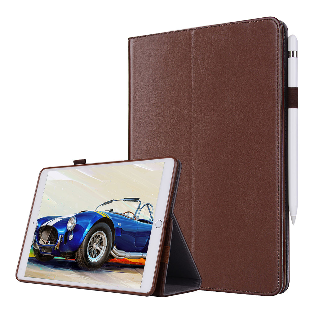 For iPad 9.7 2017 Smart Tablet Case Cover Luxury Genuine Leather Folding Stand Case + Hand Strap + Card Slots + Pencil Holder for ipad pro 12 9 2017 2015 smart tablet case cover high quality genuine leather pu folding stand case card slots pencil holder