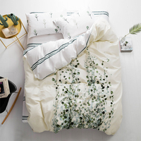 Green leaf pattern Bedding Set Cotton satin Duvet Cover Set Twin Queen King Single Double Europe Family Size Bed Line