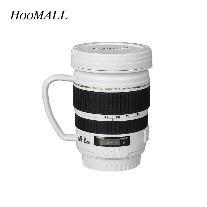 Hoomall 17-55MM Camera Lens Mugs 220ml Stainless Steel Coffee Cup with Handgrip Lid Creative Christmas Friends Gifts cup