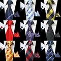 Clássico 8 cm RBOCOTT Conjunto Gravata Para Os Homens 100% de Seda Tecido Jacquard Laços Lenço Conjunto Abotoaduras Mens Wedding Party Negócios gravata