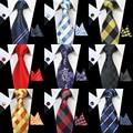 Classic 8cm RBOCOTT Tie Set For Men 100% Silk Jacquard Woven Ties Handkerchief Cufflinks Set Mens Wedding Business Party Necktie