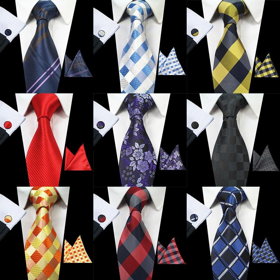RBOCOTT Classic 8cm Tie Set For Men Silk Jacquard Woven Plaid Ties Handkerchief Cufflinks Set Mens Striped Wedding Necktie
