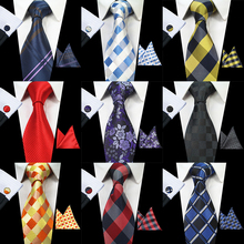 RBOCOTT Classic 8cm Tie Set For Men Silk Jacquard Woven Plaid Ties Handkerchief Cufflinks Set Mens Striped Wedding Necktie