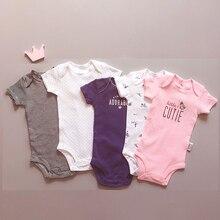 Barboteuse en coton doux, 5 pièces par ensemble, vêtements pour nourrissons filles, vêtements pour bébés