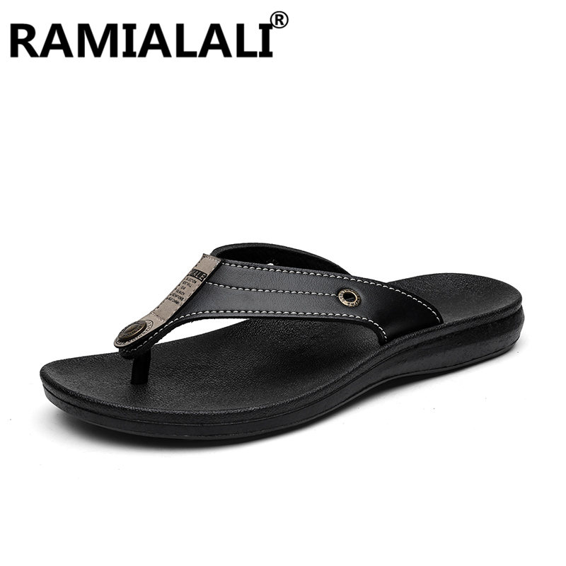 Brand Summer Men Slippers Male Leather Flip Flops for Man Vintage Casual Beach Sandals Non-slide Zapatos Shoes
