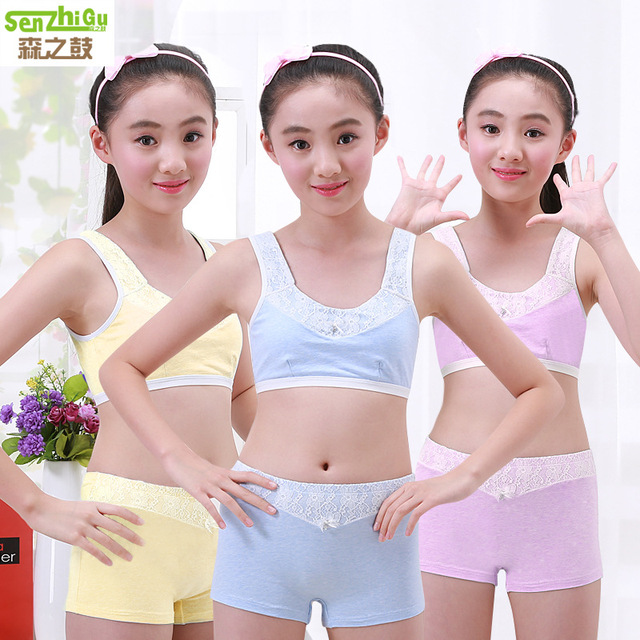 1c1711dcf42d9 Girls Clothing Teenage Children Cotton Underwear Set Training Bras Camisole  vest   panties boxer Puberty Young