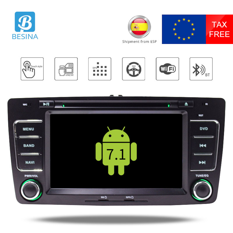 Besina 2 Din Android 7.1 Car Radio For Skoda Octavia 2012 2013 A 5 A5 Yeti Fabia Car GPS DVD Multimedia Player Quad Core 2G+16G isudar car multimedia player automotivo gps autoradio 2 din for skoda octavia fabia rapid yeti superb vw seat car dvd player