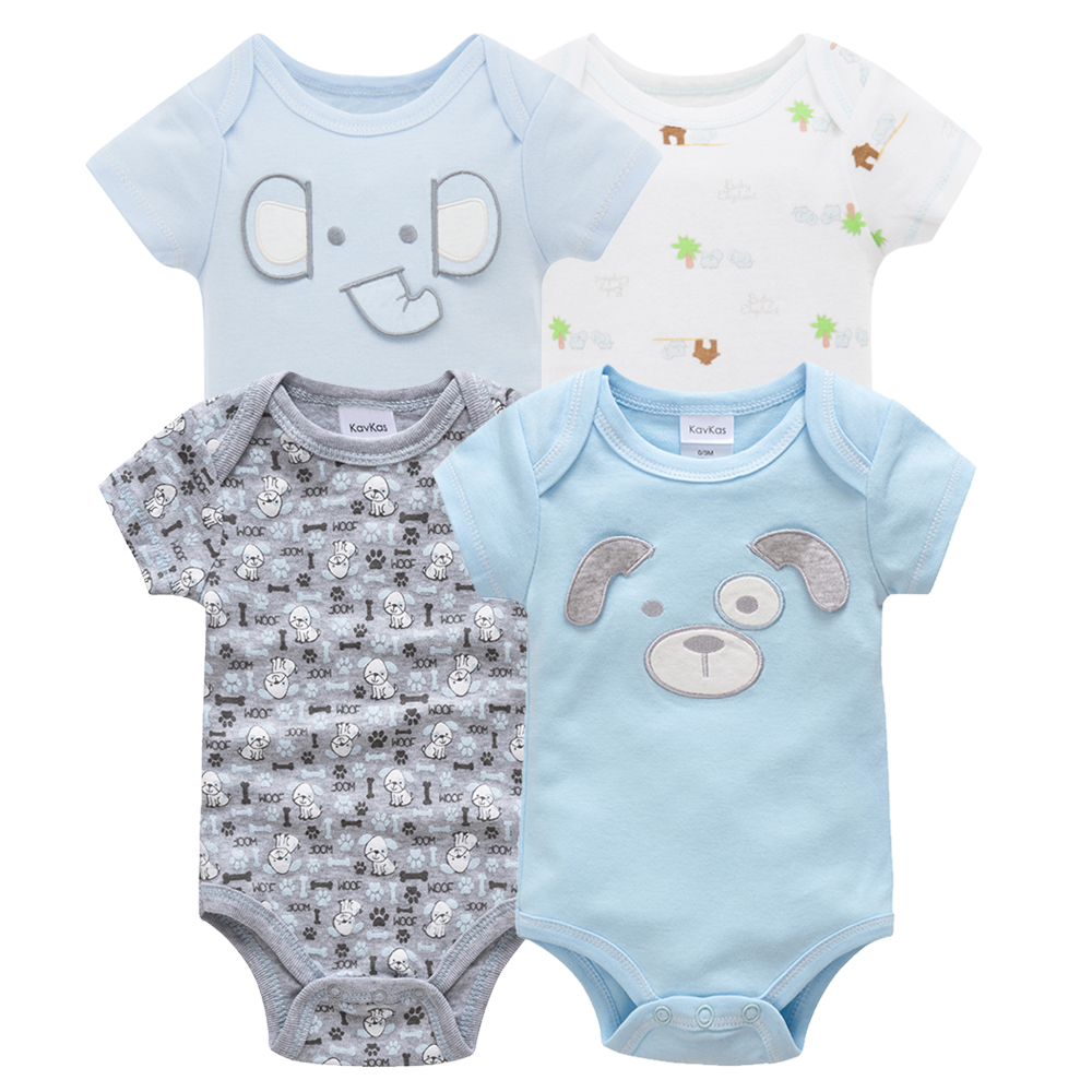 Kavkas/одежда для сна для маленьких мальчиков, комплект из 4 шт./компл., одежда с короткими рукавами для новорожденных, пижамы для мальчиков, Infantile, одежда для сна для маленьких мальчиков - Цвет: HY20782080