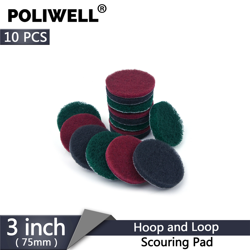 POLIWELL 10PCS 3 Inch 75mm Hook & Loop Industrial Scouring Pad 240 400 1000 Grit Heavy Duty Nylon Cloth Cleaning Scrubbing Pads