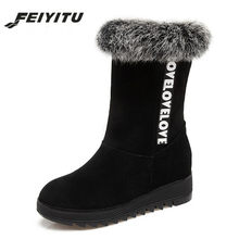 2448a4b5430 feiyitu 2018 Winter boots High Women Snow Boots plush Warm shoes Plus size  34 - 43 easy wear girl black shoes female hot boots
