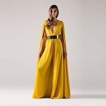 Nach Maß Tiefer V-ausschnitt Gelb Chiffon Cape Lange Formale Abendkleid Muslimischen Dubai Kaftan mit Gold Metall Gürtel