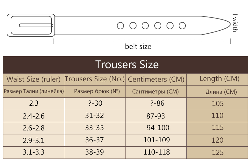 Men belt size