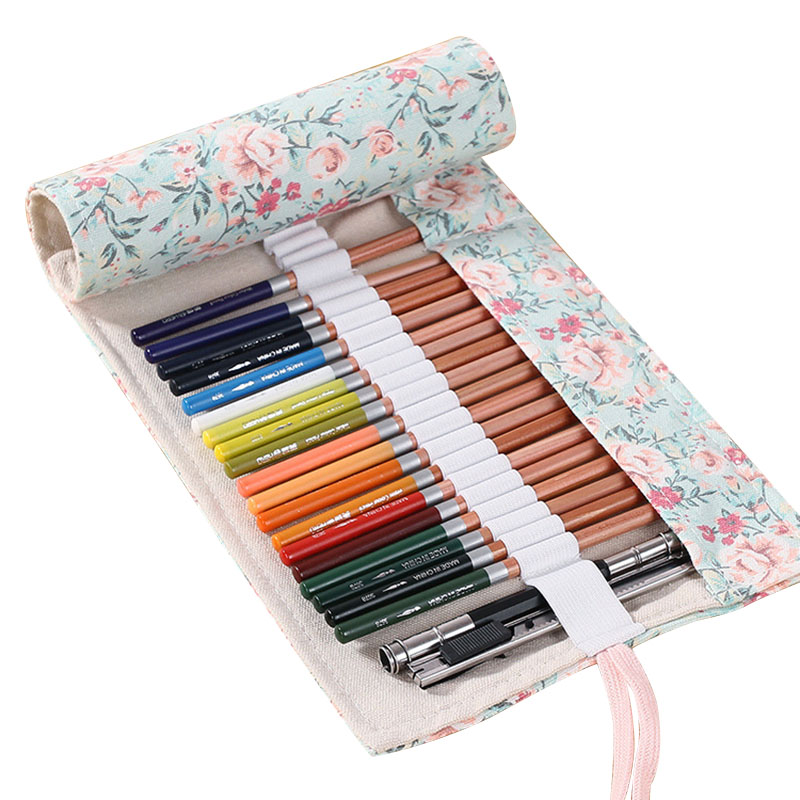 Sketch Floral Canvas Pencil Case 36/48/72 Holes Roll School Pencil Bag Large Capacity pencil Escolar Estuche Pencilcase Supplies